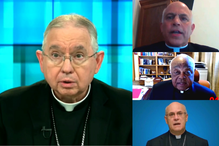 (L) Archbishop Jose Gomez leads the USCCB Spring meeting June 17, 2021 alongside Archbishop Salvatore Cordileone of San Francisco, Cardinal Wilton Gregory of Washington, D.C., and Bishop Kevin Rhoades. The bishops are meeting virtually to discuss a document on the Eucharist.