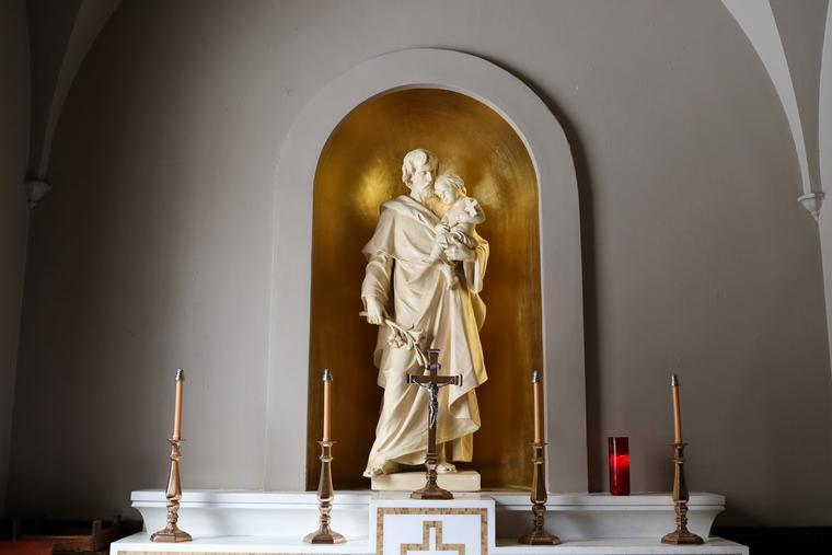 A St. Joseph statue is seen at St. John's Seminary in Boston.