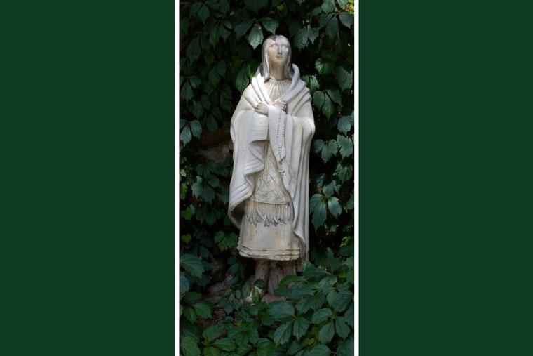 The 'Lily of the Mohawks' statue depicting St. Kateri Tekakwitha is seen at the Shrine at Our Lady of Czestochowa Roman Catholic Church in Turners Falls, Massachusetts.