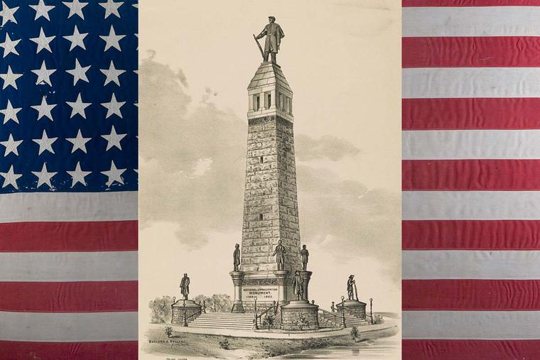 An 1889 rendition by architects Bullard & Bullard of the National Emancipation Monument proposed for Springfield, Illinois (Library of Congress), superimposed on a 34-star U.S. flag dating to the Civil War.