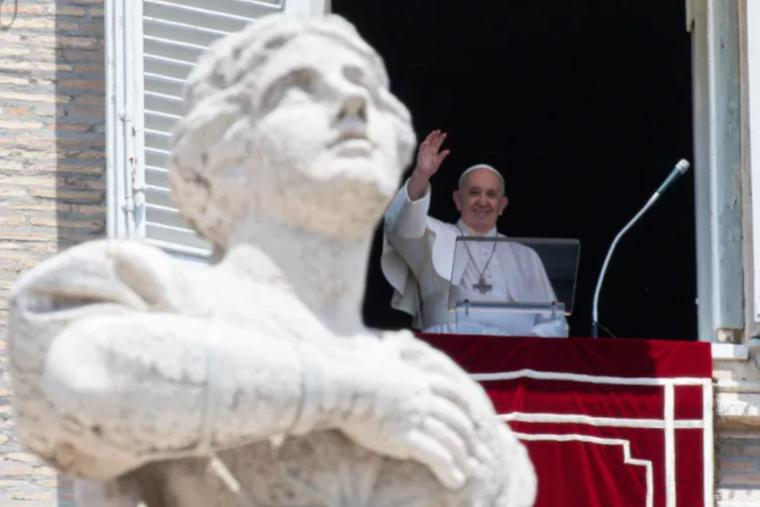 Pope Francis delivers his Angelus address on June 13.