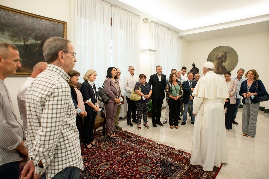 Pope Francis receives a delegation from Rome's Rebibbia Prison, June 21, 2021.