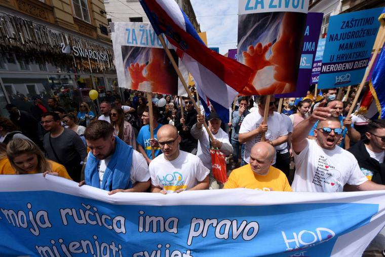 """People take part in the """"March for Life"""", the Croatia's fifth annual pro-life march, in Zagreb on May 29, 2021."""