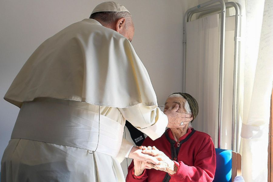 Pope Francis visits the San Raffaele Borona assisted living home in Rieti, Italy, Oct. 4, 2016.