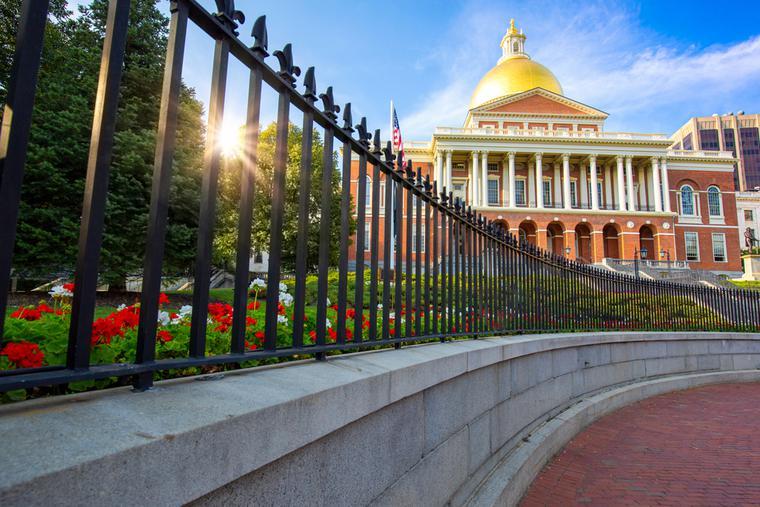 Massachusetts Old State House in Boston's historic city center.