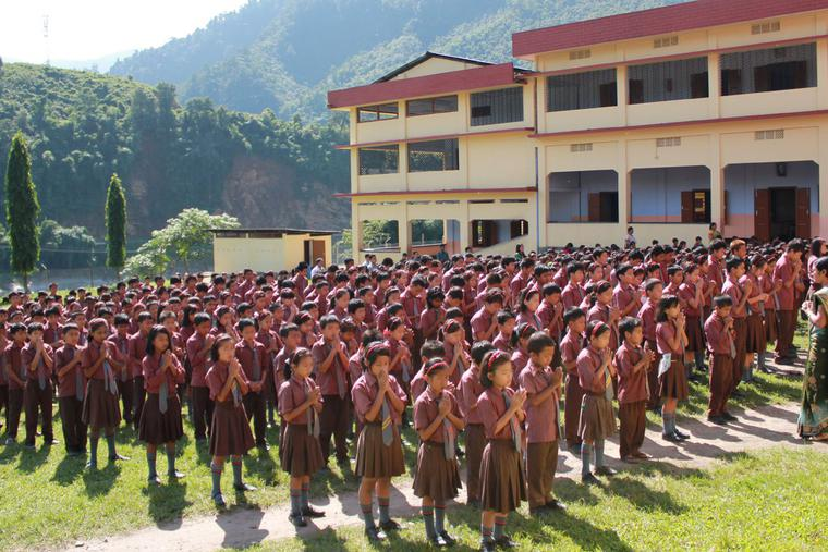 Morning assembly at a Catholic school in Seppa in Arunachal Pradesh state.