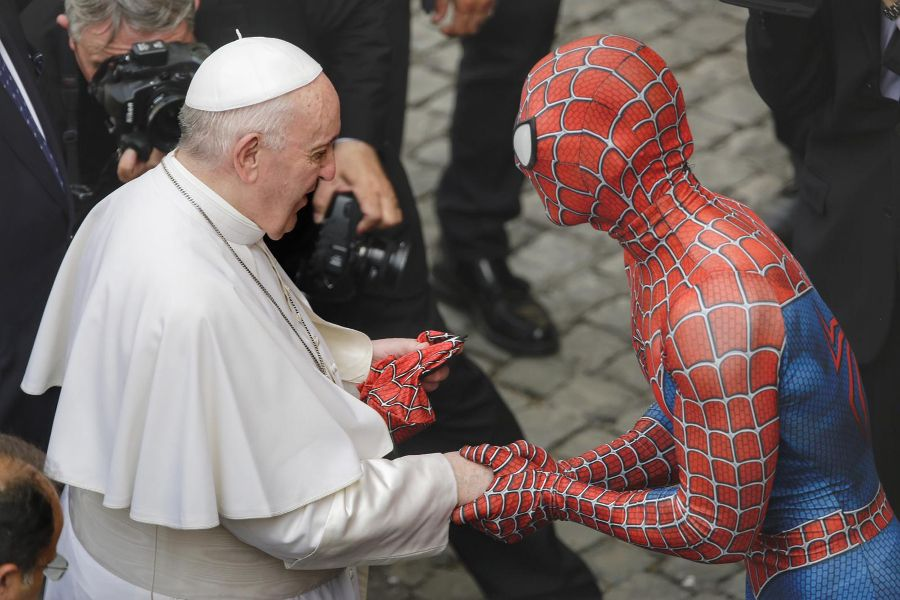 Mattia Villardita, a 28-year-old Italian who dresses up as Spider-Man, attends the general audience at the Vatican, June 23, 2021.