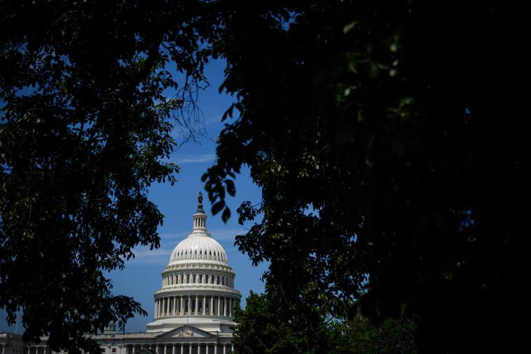 The U.S. Capitol dome is seen as Congress resumed on June 21 in Washington.