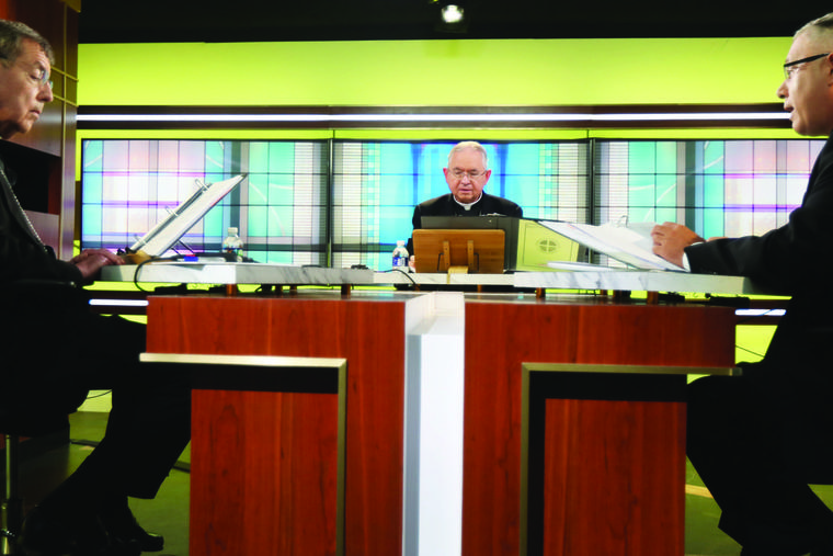 Above, from left, Archbishop Allen Vigneron of Detroit, Archbishop José Gomez of Los Angeles and Msgr. Jeffrey Burrill take part in the U.S. bishops' June 16-18 virtual assembly.