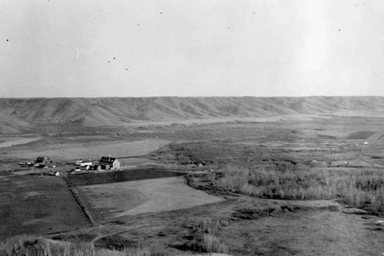 Marieval Mission, Cowesses Indian Residential School in Elcapo Creek Valley, Saskatchewan, 1923.