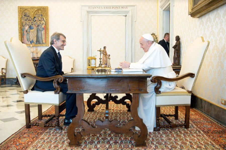 Pope Francis meets with David Sassoli, president of the European Parliament, June 25, 2021.