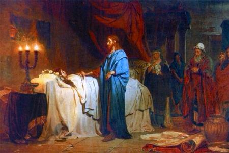 """Ilya Repin, """"Raising the Daughter of Jairus,"""" 1871"""