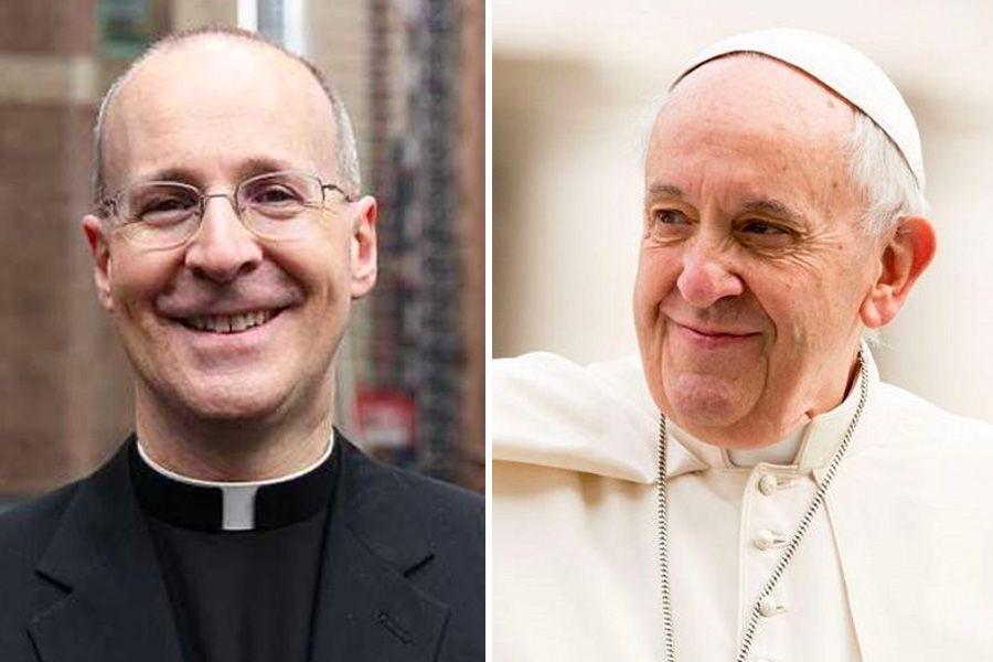 (L) Father James Martin alongside Pope Francis.