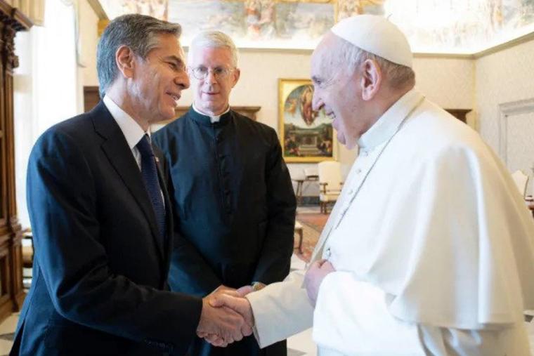 Pope Francis greets Secretary Antony Blinken at the Vatican on June 28, 2021.