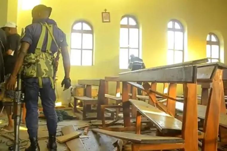 Aftermath of the explosion is seen inside Emmanuel-Butsili parish in Beni, Democratic Republic of Congo on June 27.