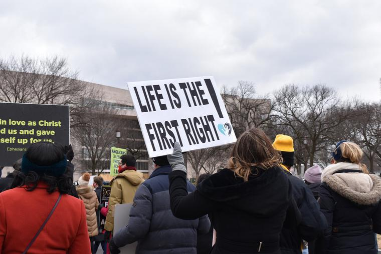 Organizers and a limited number of participants march in the 48th-annual March for Life in Washington on Jan. 29, in a scaled-down event due to the coronavirus pandemic.