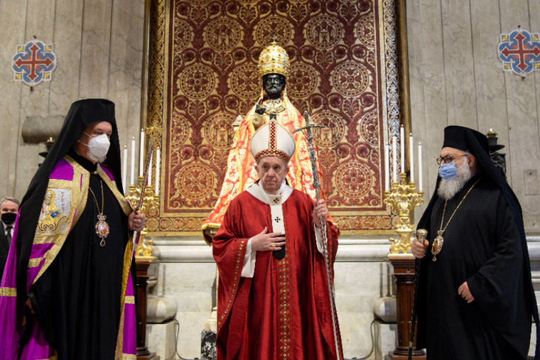 Pope Francis celebrates Mass at St. Peter's Basilica on the Solemnity of Sts. Peter and Paul, June 29, 2021.