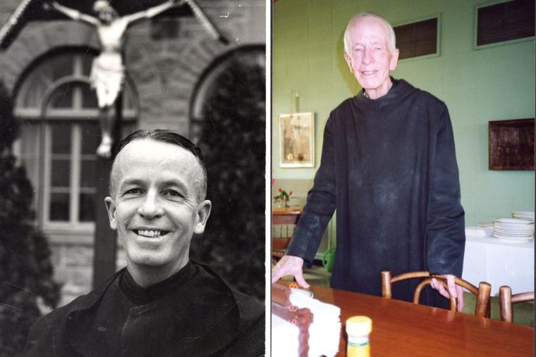 L to R: Brother Marinus LaRue is seen circa 1960 and well into his 90s.
