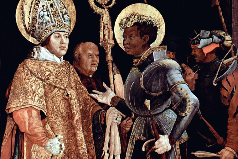 "Mathias Grünewald, ""Meeting of St. Erasmus and St. Maurice,"" ca. 1522"
