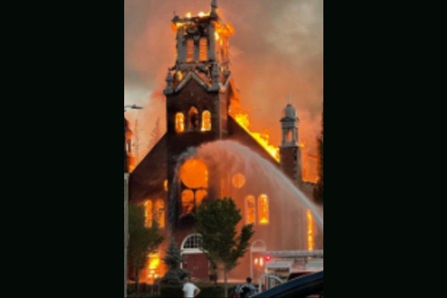 Fire destroys St. Jean Baptiste parish in Morinville, Alberta.