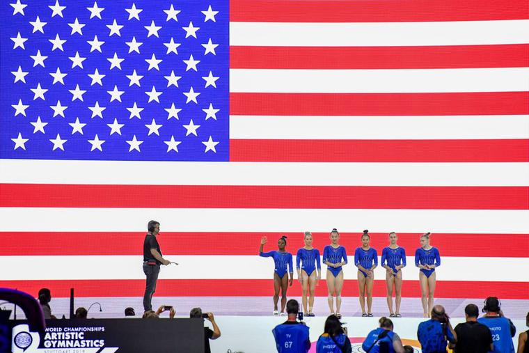 The US gymnastic women's team with (L-R)  Simone Biles, Mykayla Skinner, Kara Eaker, Sunisa Lee, Grace McCallum and Jade Carey are presented prior to a training session for the FIG Artistic Gymnastics World Championships in Stuttgart, southern Germany, on October 1, 2019.