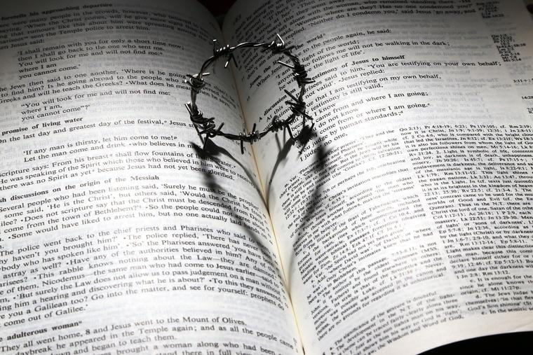 Miniature Crown of Thorns on Bible Photo