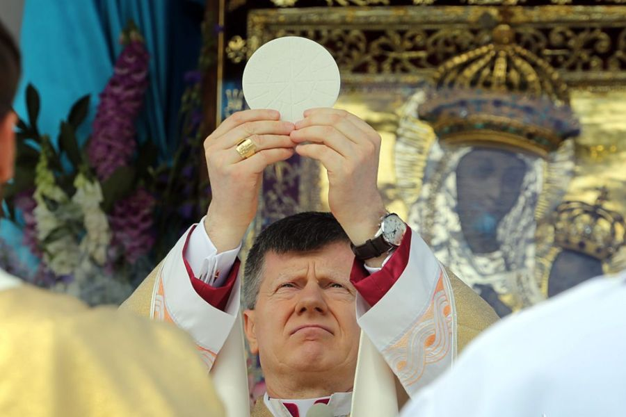 Archbishop Ante Jozić celebrates Mass before the icon of Our Lady of Budslau in Belarus July 3.