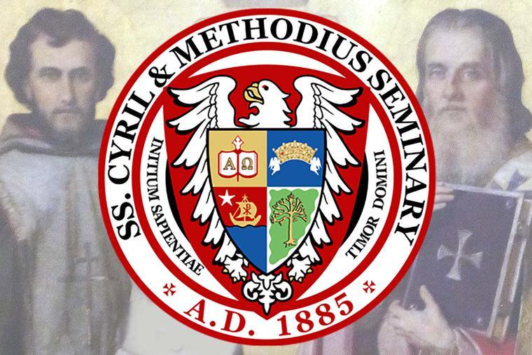 "Background: Uroš Predić, ""Saints Cyril and Methods,"" 1912. Seal: SS. Cyril and Methodius Seminary."