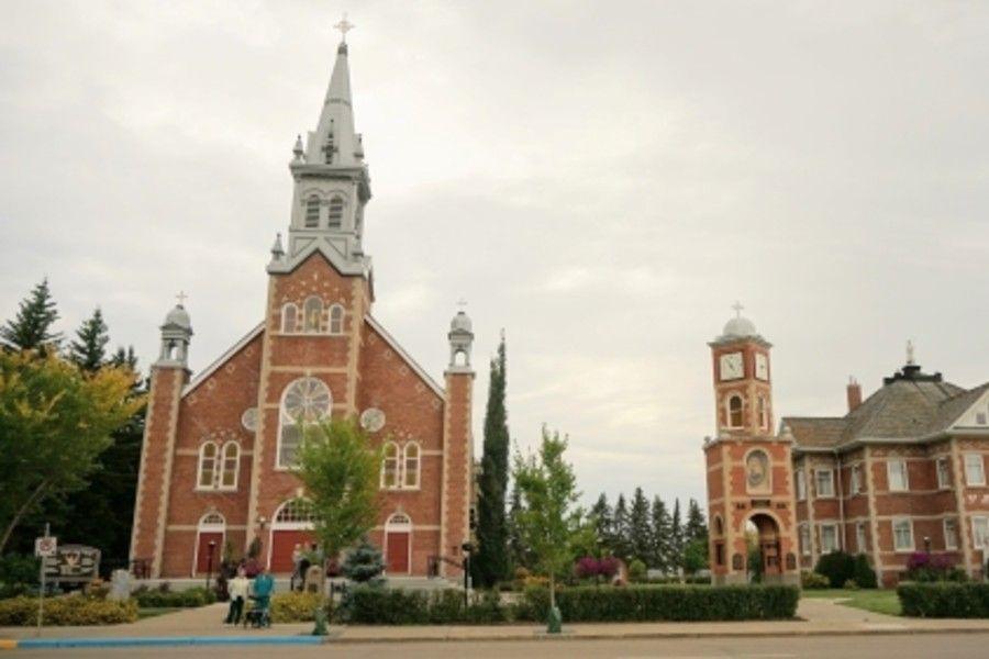 St. Jean Baptiste Catholic Church in Morinville, Alberta, before it burned down on June 30, 2021.