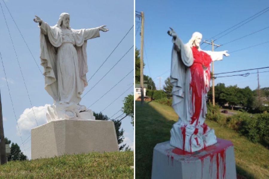 Sacred Heart of Jesus statue outside the Basilica of St. Lawrence, Asheville, North Carolina