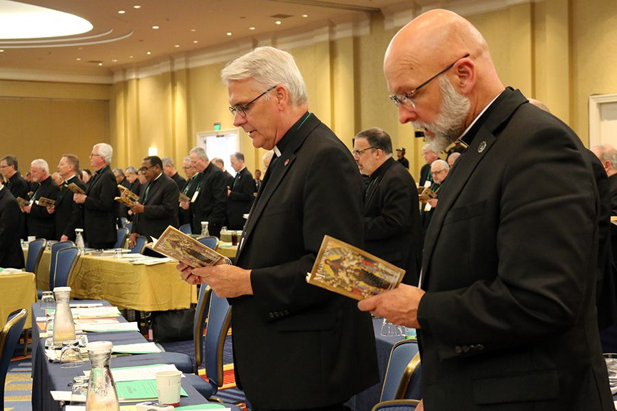 Archbishop Paul Coakley of Oklahoma City (Left) and Bishop James Wall of Gallup, head of the Subcommittee on Native American Affairs under the USCCB Standing Committee for Cultural Diversity, (Right) at the 2019 USCCB General Assembly, June 12, 2019.
