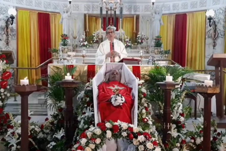 Jesuit Father Frazer Mascarenhas speaking at Fr Stan's funeral on July 6, 2021.