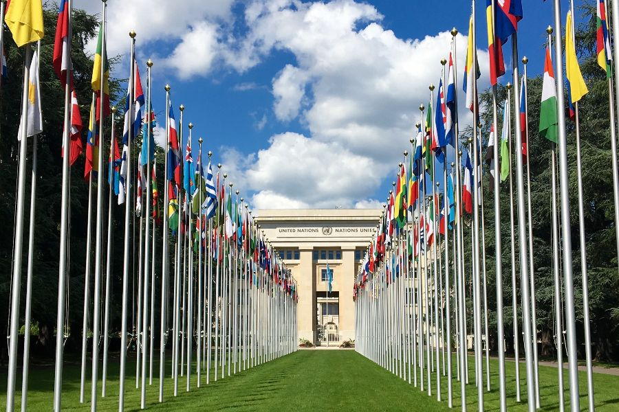 The Palace of Nations in Geneva, Switzerland, which houses the meeting room of the UN Human Rights Council.