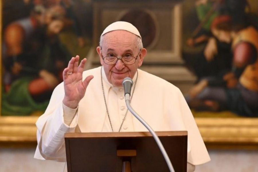Pope Francis gives an Angelus address from the Apostolic Palace.