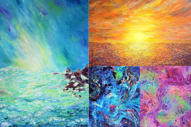 Selected works by Diana Durantel: clockwise from left, 'Fountain of Light,' 'Light,' 'The Color of Spring' and 'Creation: Life Bloom'