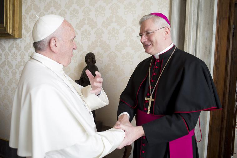 Pope Francis with Archbishop Leo Cushley, Archbishop of St. Andrews and Edinburgh in Scotland, in Vatican City.