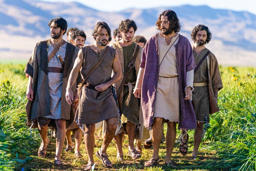 """""""The Chosen"""" cast, led by actor Jonathan Roumie in the role of Jesus Christ and Shahar Isaac playing Simon Peter."""