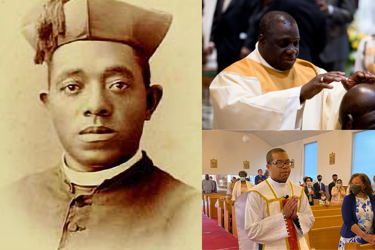 Venerable Father Augustus Tolton (left)  alongside Father Guy Dormevil (top right) and Father Raney Johnson (bottom right).