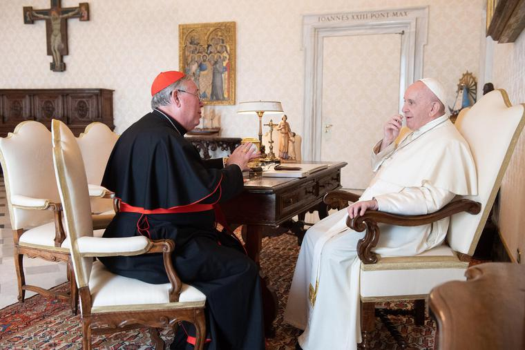 Pope Francis received in a private audience Jesuit Cardinal Jean-Claude Hollerich, archbishop of Luxembourg and president of the Commission of the Bishops' Conferences of the European Union, at the Vatican on Sept. 10, 2020.