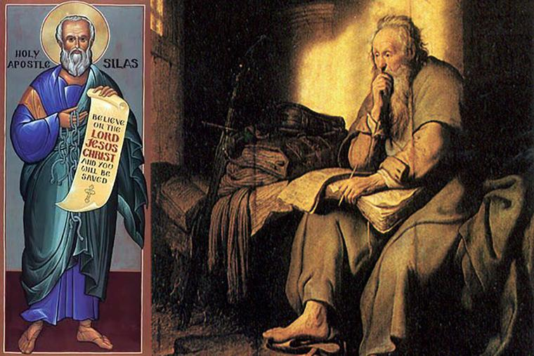 """LEFT: Traditional icon of Silas. RIGHT: Rembrandt, """"Saint Paul in Prison,"""" 1627."""