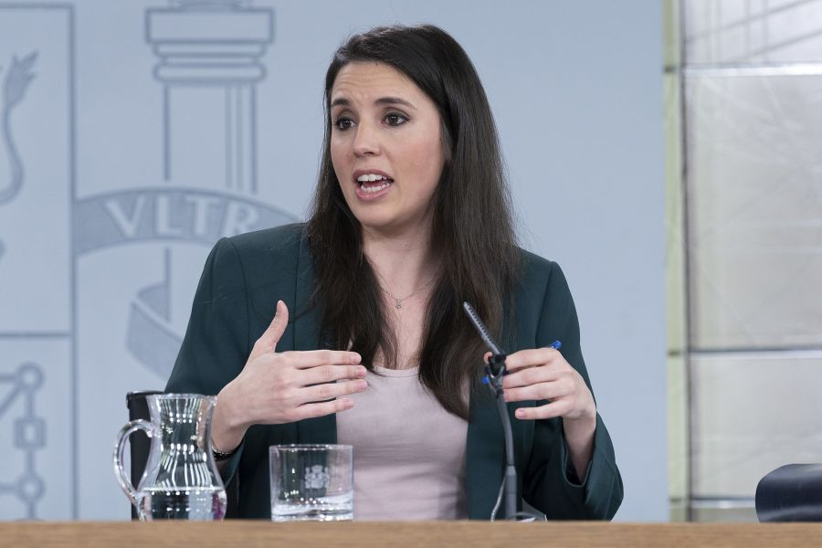 Spanish Equality Minister Irene Montero speaks after the Council of Ministers, March 3, 2020.