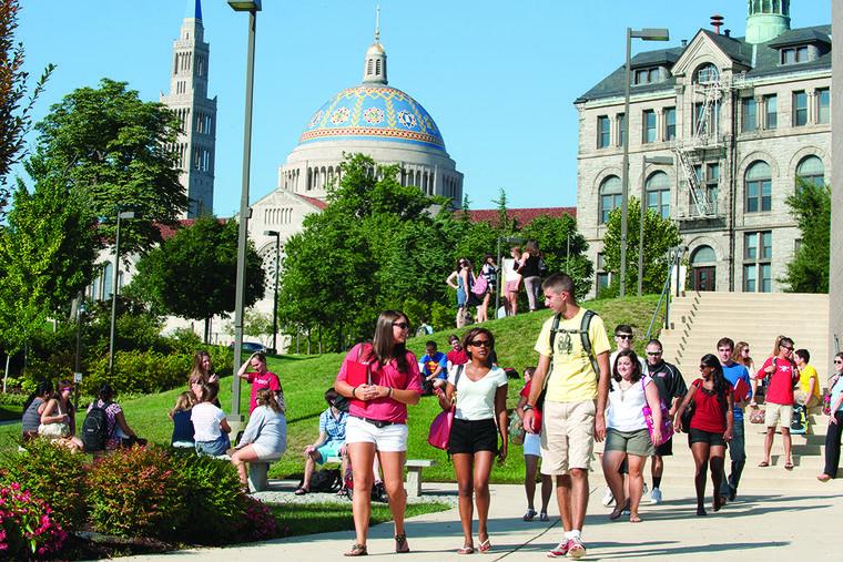 Students on campus of the Catholic University of America.