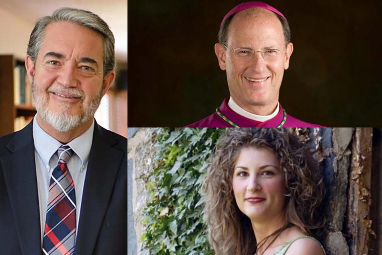 Clockwise from top right, Bishop James Conley of Lincoln, Nebraska, Scripture teacher Sonja Corbitt of Bible Study Evangelista, and Scott Hahn, longtime professor of biblical studies at Franciscan University of Steubenville and the president of the St. Paul Center for Biblical Theology, all credit their knowledge of the real presence of Christ in the Eucharist as key to their conversion to the Catholic Church.