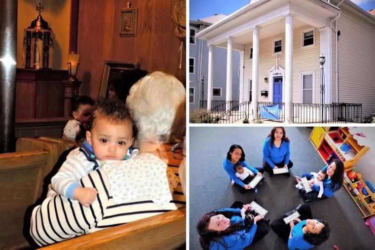 Clockwise from left: Supporters gather at Visitation House once a month for Mass with the residents; located in Worcester, Massachusetts, the home has welcomed more than 300 women and their children. Members of the Visitation House program participate in a variety of activities designed for the mothers and their children.