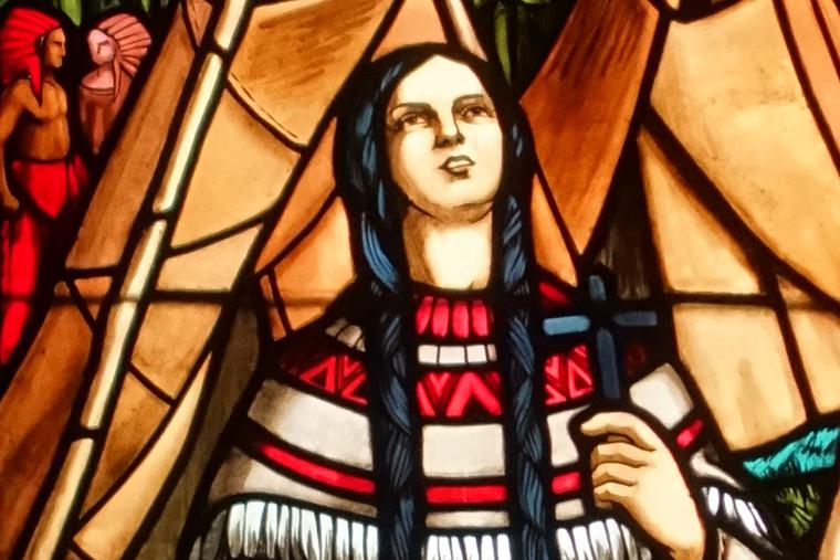 Stained-glass window depicting St. Kateri Tekakwitha in the Notre-Dame de Montréal Basilica in Montreal, Quebec