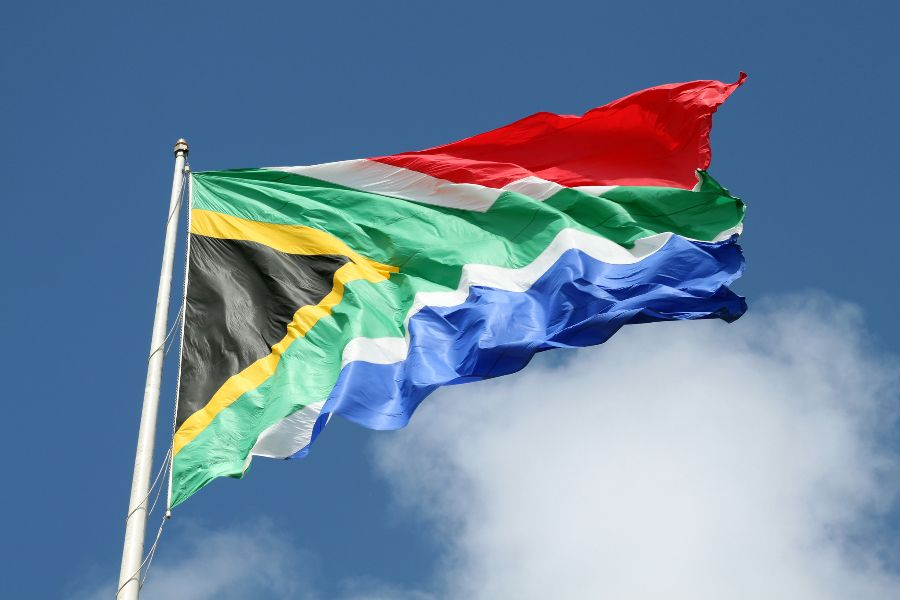 South African flag, Port Elizabeth, Eastern Cape, South Africa.