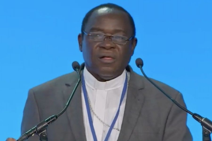 """Bishop Matthew Hassan Kukah of Sokoto addresses a dinner of ADF International, """"The Crisis of Religious Freedom in Nigeria,"""" at the 2021 International Religious Freedom Summit in Washington, D.C."""