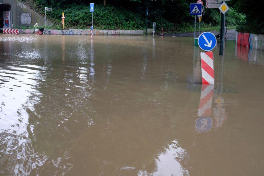 A flooded street in Düsseldorf, Germany, July 15, 2021.