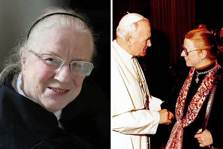 Dagny Kjaergaard sits for a portrait (l) and is received in audience by Pope St. John Paul II.