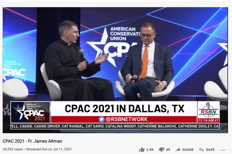 Father James Altman gave the welcome prayer at the CPAC 2021 convention July 11 in Dallas and is pictured here as a speaker on a panel on 'Why Faith Matters' with Dan Schneider of the American Conservative Union.